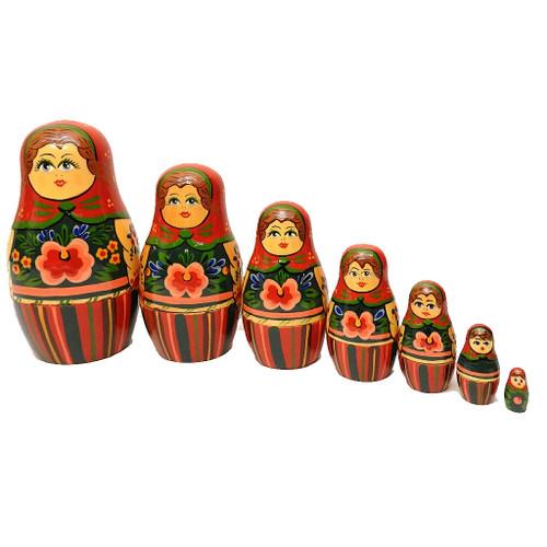 """Brest """"Red Shawl"""" Maidens Matryoshka Nesting Doll"""