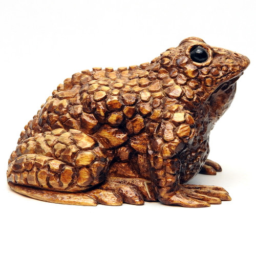 Realistic Wood Carving of a Small Brown Toad