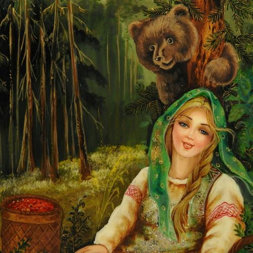 Masha and The Bear (Маша и Медведь) Fedoskino Lacquer Box
