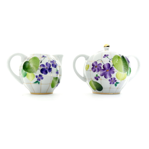 Forest Violets Creamer and Sugar Bowl [Lomonosov]
