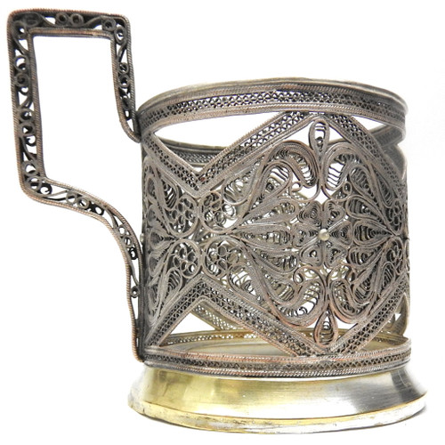 Vintage Kazakovo Filigree Tea Glass Holder, 1950's