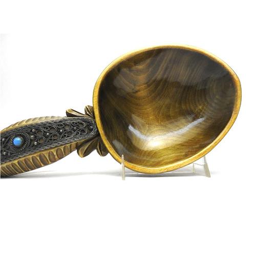 Russian Carved Art ware Kovsh Ladle