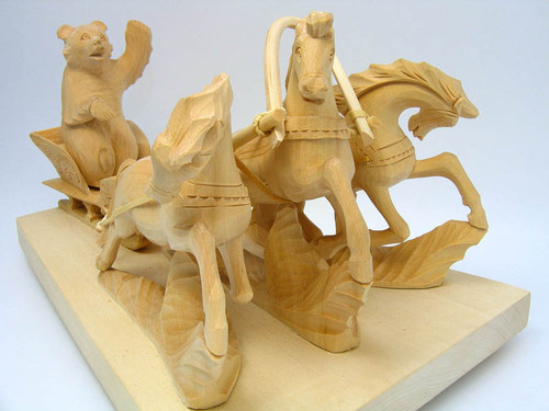 Bogorodsk Troika Carving Driven by a Dancing Bear