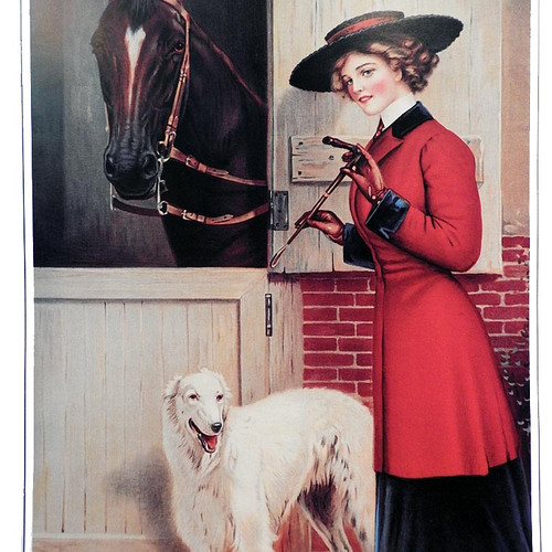 Ready to Ride Borzoi Art Print C Dillworth