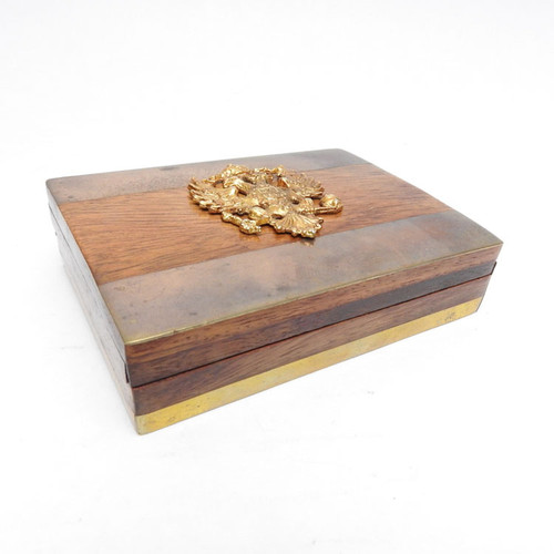 Imperial Russian Eagle Brass Overlay Box