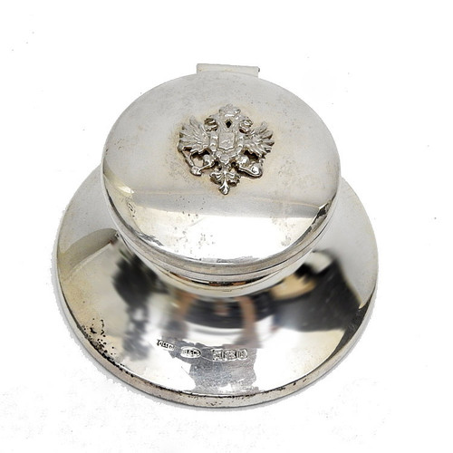 Sterling Russian Eagle Inkwell - IRAA