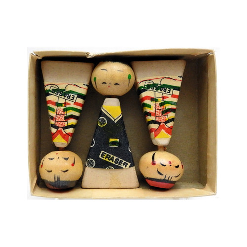 Kokeshi Doll Erasers in Original Box 1960's