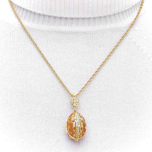 Gold Enamel Egg Cross Pendant - Hanging