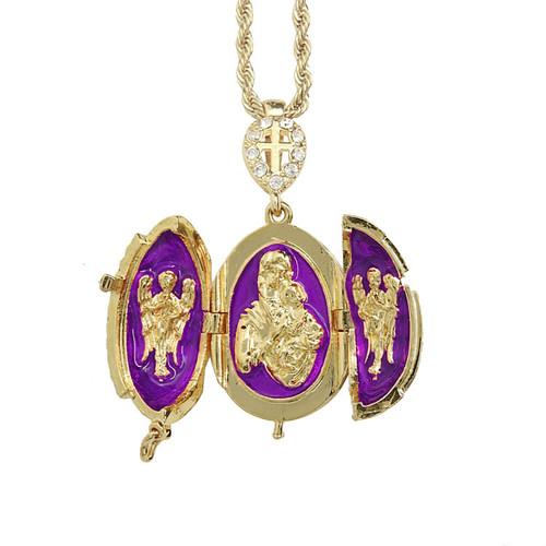 Purple Enamel Egg Cross Pendant - Open