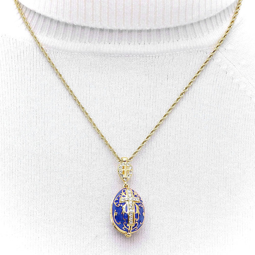 Blue Enamel Egg  Locket Pendant - Hanging on Chain
