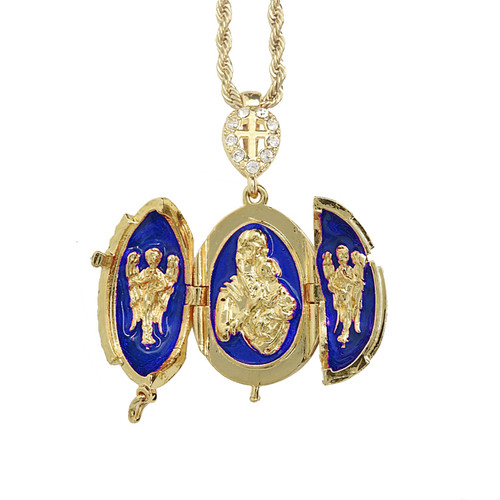 Blue Enamel Egg  Locket Pendant - Open