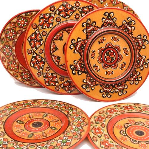 Ukrainian Painted Wood Egg Plates