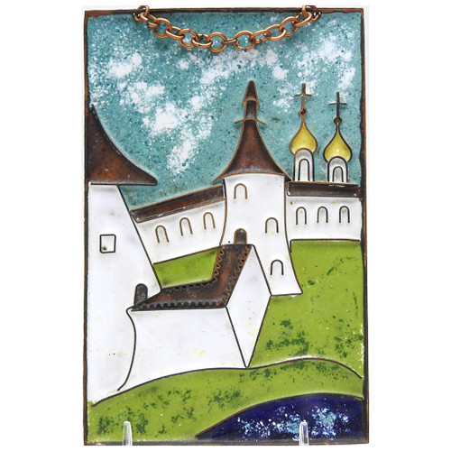 Towers of the Kremlin Enamel on Copper Plaque