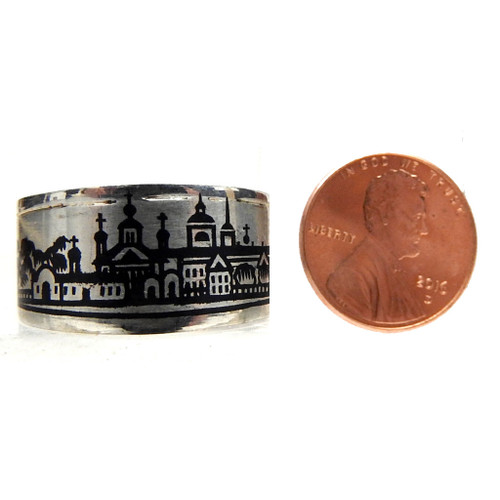 Niello Men's Ring with Lincoln Penny