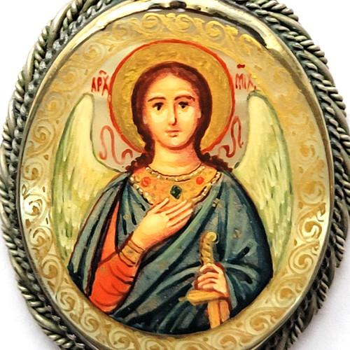 St. Michael Painted Icon Pendant