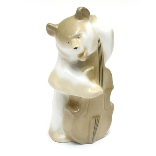 Bear Playing Contrabass [Leningrad Porcelain]