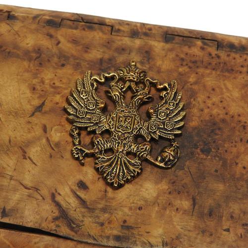 Karelian Birch Wood Cigarette Box with Royal Crest