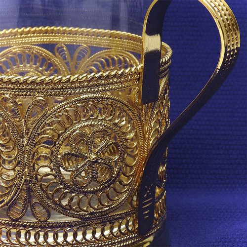 """Golden Aurora""  Russian Filigree Tea Glass Holder"