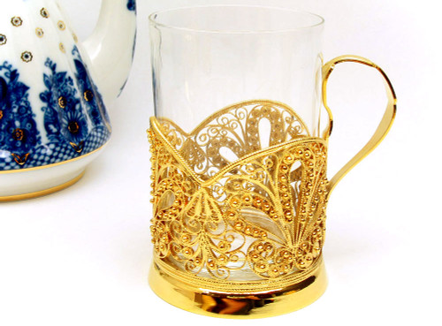 """Sunrise Sunset""  Russian Filigree Tea Glass Holder"