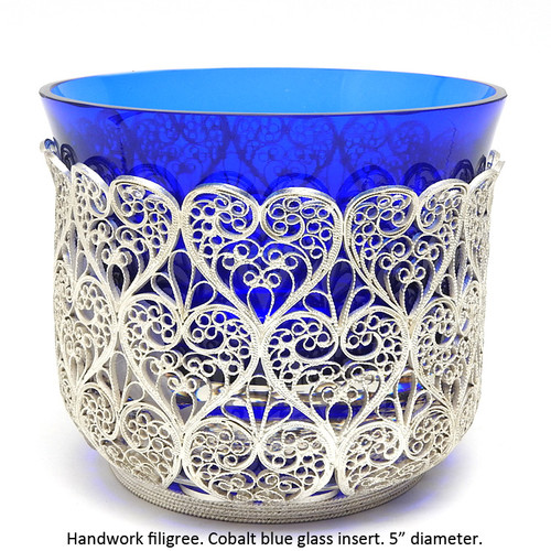 Russian filigree candy dish with cobalt glass insert at Maison Russe