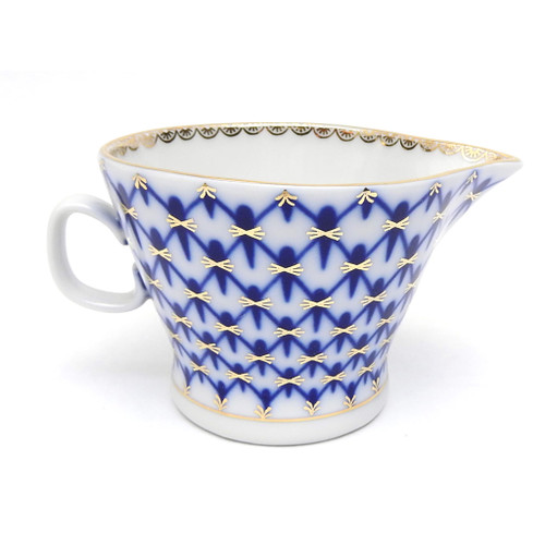 Cobalt Net Syrup Pitcher or Sauce Boat