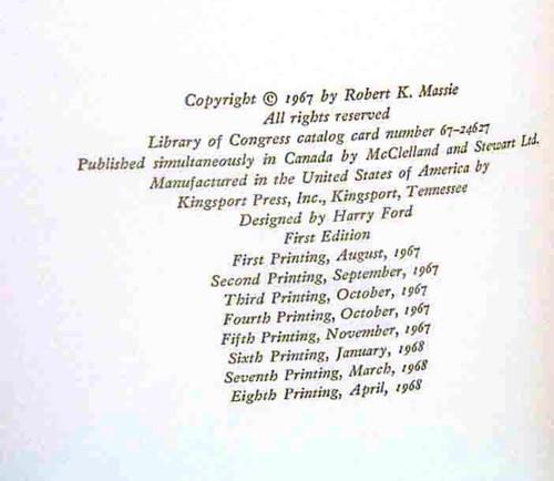 Printing history of 1st edition, 8th printing