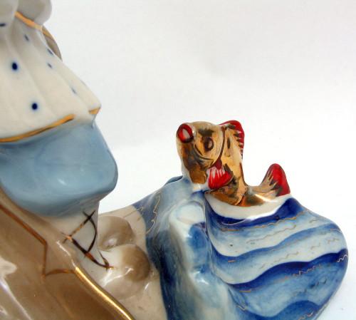 "Gzhel Figure ""Fisherman and the Goldfish"" Turigyno backstamp, 1960s"