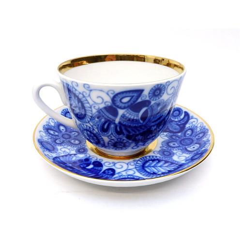 Cobalt Lace Teacup and Saucer [USSR]