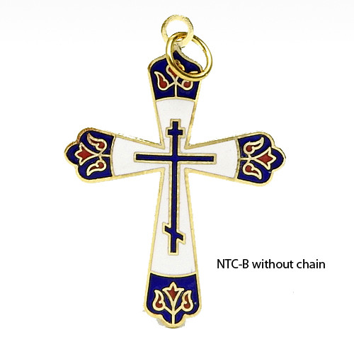 Blue Enamel Russian Cross with Chain NTCB
