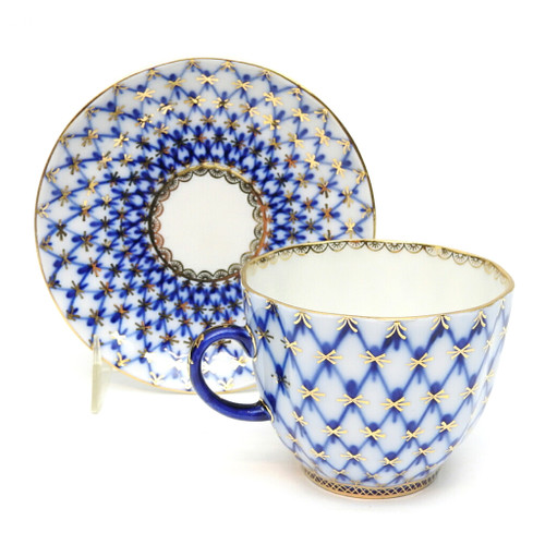 Cobalt Net Coffee Cup and Saucer [USSR]