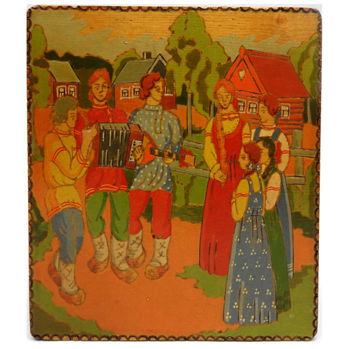Village Scene Painted Box from Zagorsk