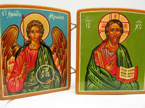 Christ with Saints Triptych Icon including St. Michael