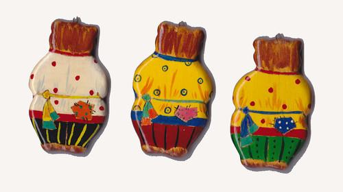 Set of three hand painted Christmas Bear Ornaments