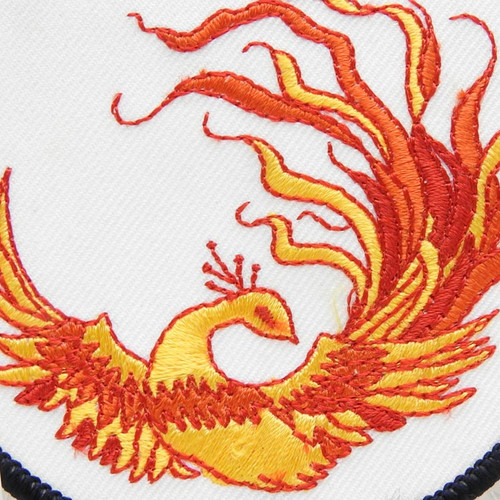 Russian Firebird жар-птица Embroidered Emblem on a white background- close up