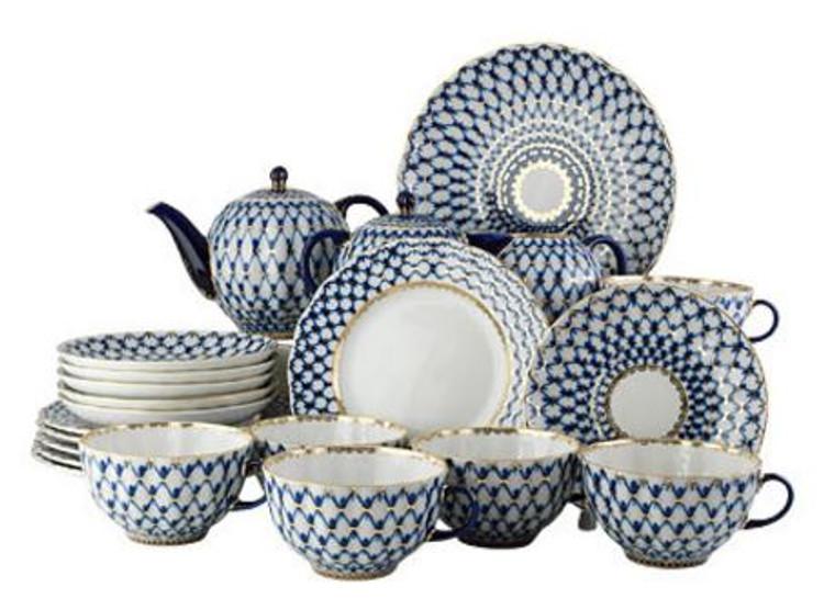 Cobalt Net Tea Service (22pcs) from Lomonosov (aka Imperial) Porcealin