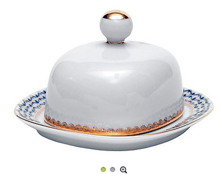 Cobalt Net Covered Round Butter Dish