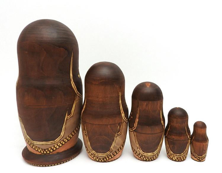 Golden Ring Artistic Matryoshka view of backs of doll
