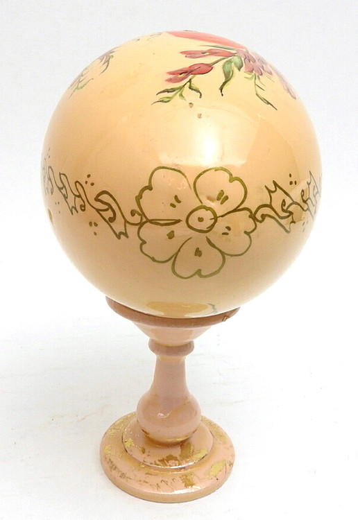 Zhostovo painted Easter Egg with stand (Жостовская роспись) top of egg