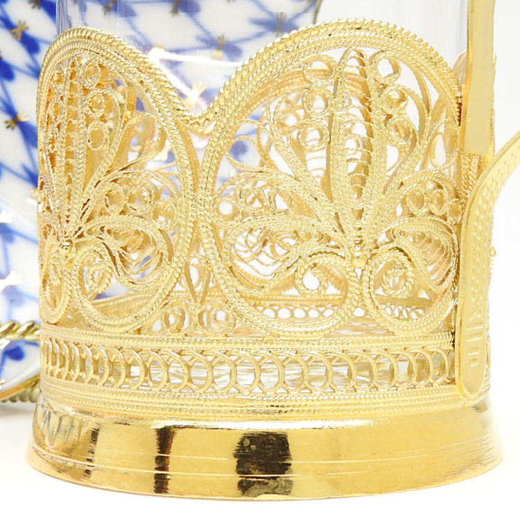 """Anna""  Russian Filigree Tea Glass Holder"