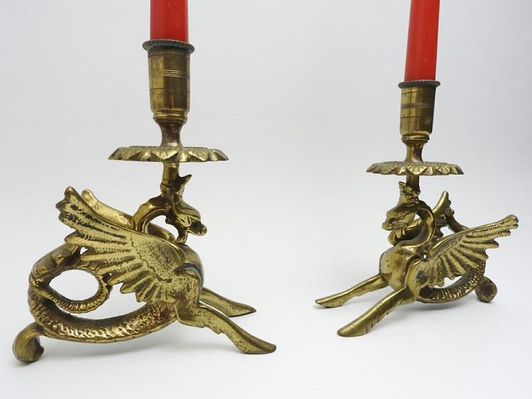 Winged Dragon Brass Candle Sticks - IRAA