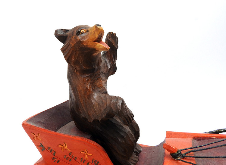 Bear Driving a Troika  Bogorodsk Painted Carving bear in sleigh