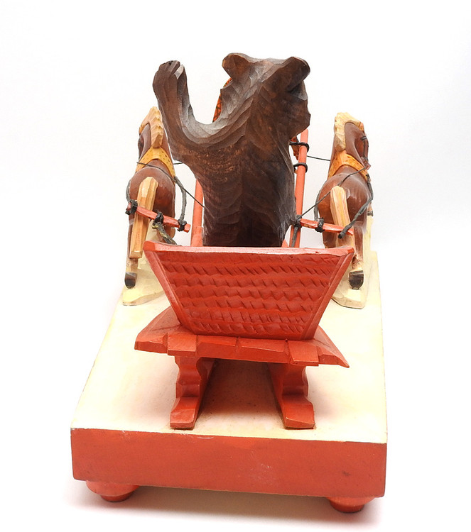 Bear Driving a Troika  Bogorodsk Painted Carving goodbye!