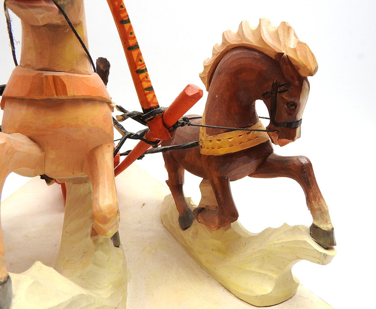 Bear Driving a Troika  Bogorodsk Painted Carving detail of horse