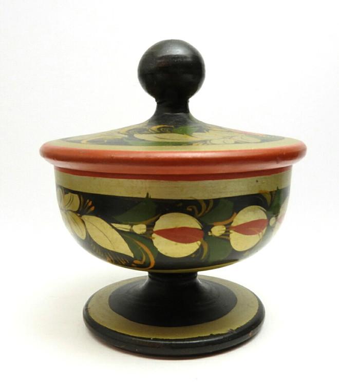 Vintage Khokhloma small salt box