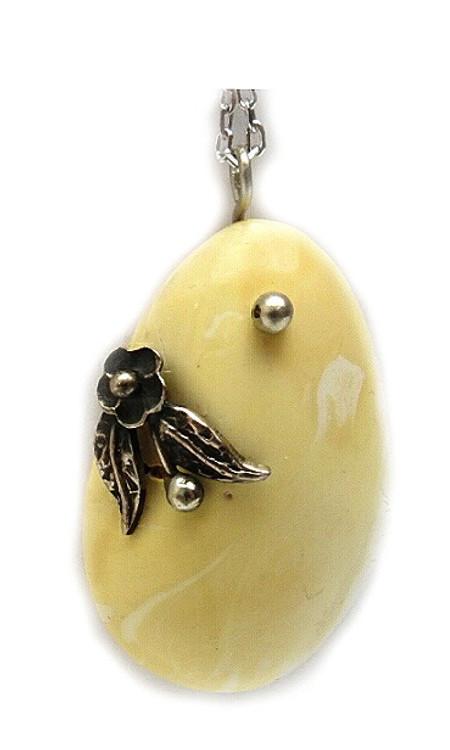 White Baltic Amber Pendant