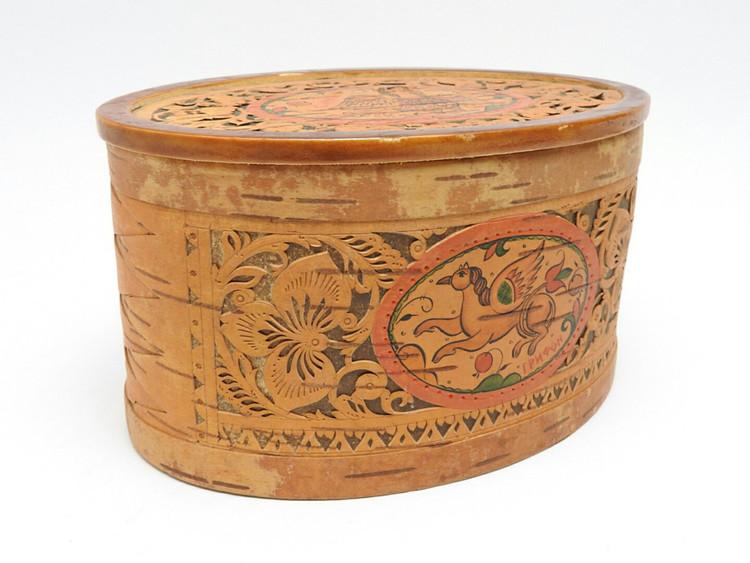 Birch Box with Vignettes  from Veliky Ustyug (Великий Устюг)