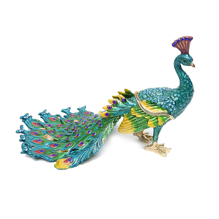 Large Peacock Jewelry Box