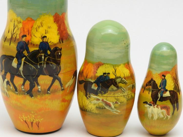 Dolls 7, 8, 9 of Pershinskaya Okhota Borzoi. Set of 9 Russian nesting matryoshka dolls.