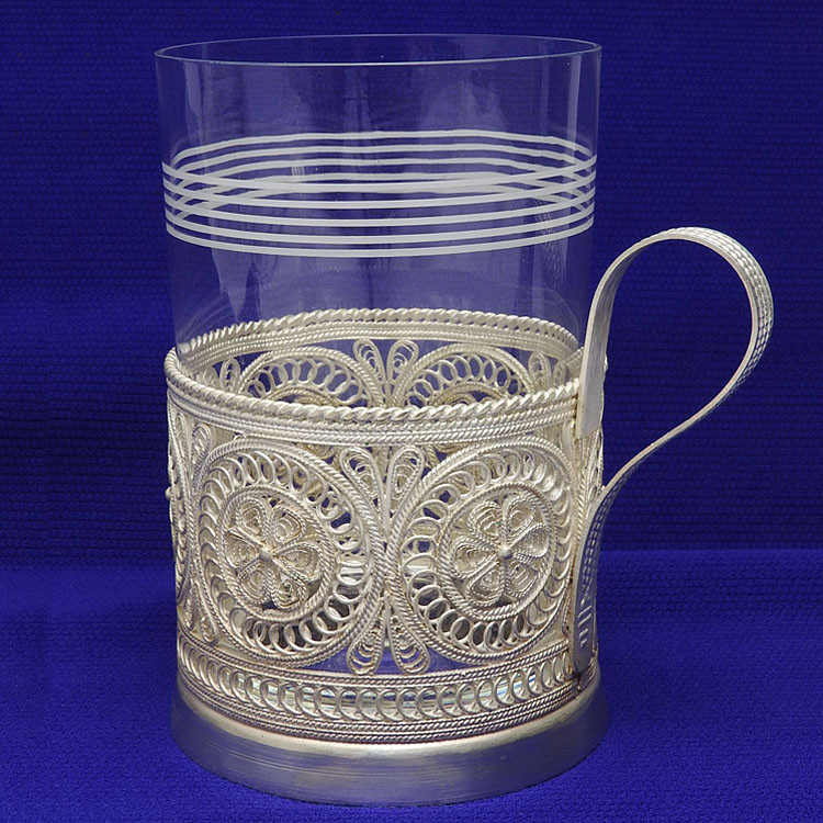 Silver Aurora Filigree  Tea Glass