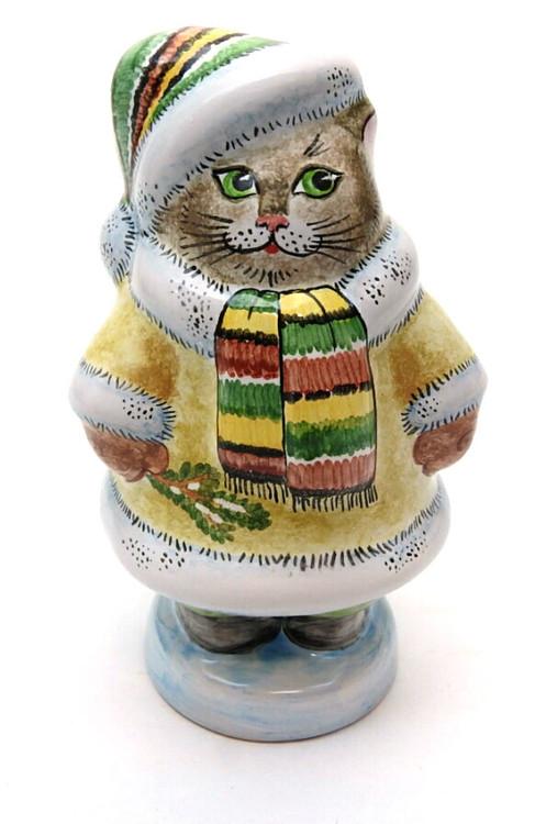 Cat with Winter Coat Majolica Figure
